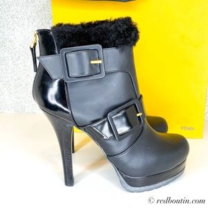 FENDI Moorland Black Leather Platform Ankle Bootie